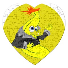 Funny Cartoon Punk Banana Illustration Jigsaw Puzzle (heart) by BangZart