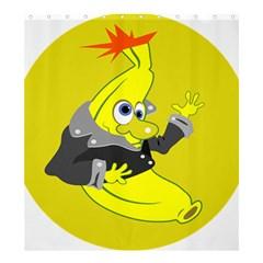 Funny Cartoon Punk Banana Illustration Shower Curtain 66  X 72  (large)  by BangZart
