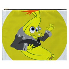 Funny Cartoon Punk Banana Illustration Cosmetic Bag (xxxl)  by BangZart