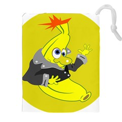 Funny Cartoon Punk Banana Illustration Drawstring Pouches (xxl) by BangZart