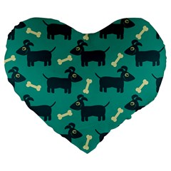 Happy Dogs Animals Pattern Large 19  Premium Heart Shape Cushions by BangZart