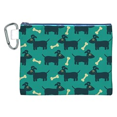 Happy Dogs Animals Pattern Canvas Cosmetic Bag (xxl) by BangZart
