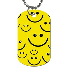 Digitally Created Yellow Happy Smile  Face Wallpaper Dog Tag (two Sides) by BangZart