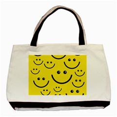 Digitally Created Yellow Happy Smile  Face Wallpaper Basic Tote Bag by BangZart