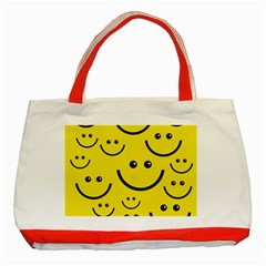 Digitally Created Yellow Happy Smile  Face Wallpaper Classic Tote Bag (red) by BangZart