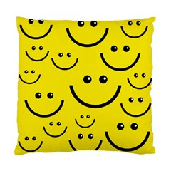 Digitally Created Yellow Happy Smile  Face Wallpaper Standard Cushion Case (one Side) by BangZart