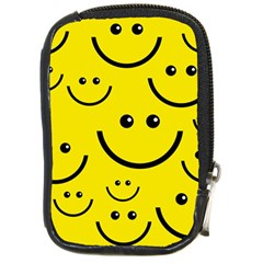 Digitally Created Yellow Happy Smile  Face Wallpaper Compact Camera Cases by BangZart