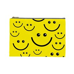 Digitally Created Yellow Happy Smile  Face Wallpaper Cosmetic Bag (Large)