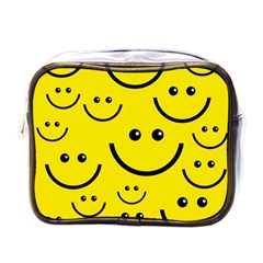 Digitally Created Yellow Happy Smile  Face Wallpaper Mini Toiletries Bags