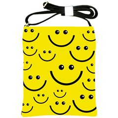 Digitally Created Yellow Happy Smile  Face Wallpaper Shoulder Sling Bags by BangZart