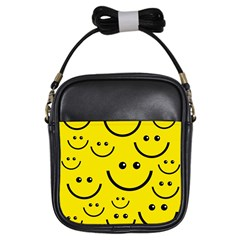 Digitally Created Yellow Happy Smile  Face Wallpaper Girls Sling Bags by BangZart
