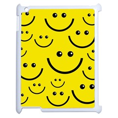 Digitally Created Yellow Happy Smile  Face Wallpaper Apple Ipad 2 Case (white) by BangZart