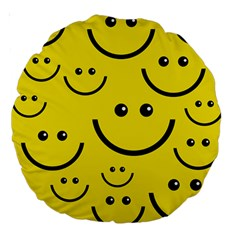 Digitally Created Yellow Happy Smile  Face Wallpaper Large 18  Premium Round Cushions by BangZart