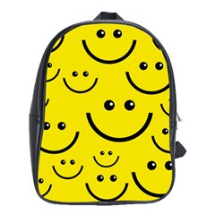 Digitally Created Yellow Happy Smile  Face Wallpaper School Bags (xl)  by BangZart