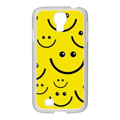 Digitally Created Yellow Happy Smile  Face Wallpaper Samsung Galaxy S4 I9500/ I9505 Case (white) by BangZart