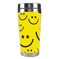 Digitally Created Yellow Happy Smile  Face Wallpaper Stainless Steel Travel Tumblers