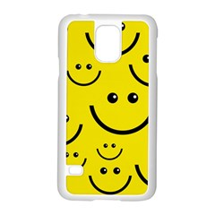 Digitally Created Yellow Happy Smile  Face Wallpaper Samsung Galaxy S5 Case (white) by BangZart
