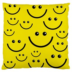 Digitally Created Yellow Happy Smile  Face Wallpaper Standard Flano Cushion Case (one Side) by BangZart