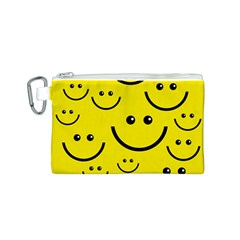 Digitally Created Yellow Happy Smile  Face Wallpaper Canvas Cosmetic Bag (s) by BangZart