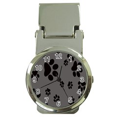 Dog Foodprint Paw Prints Seamless Background And Pattern Money Clip Watches by BangZart