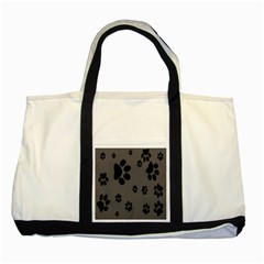 Dog Foodprint Paw Prints Seamless Background And Pattern Two Tone Tote Bag by BangZart