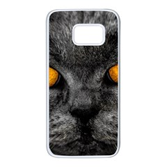 Cat Eyes Background Image Hypnosis Samsung Galaxy S7 White Seamless Case by BangZart