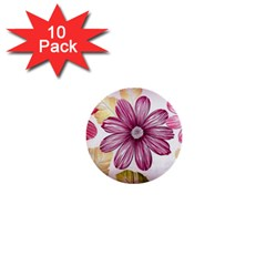 Flower Print Fabric Pattern Texture 1  Mini Buttons (10 Pack)  by BangZart