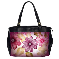 Flower Print Fabric Pattern Texture Office Handbags (2 Sides)  by BangZart