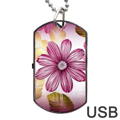Flower Print Fabric Pattern Texture Dog Tag Usb Flash (two Sides) by BangZart