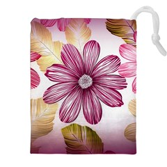 Flower Print Fabric Pattern Texture Drawstring Pouches (xxl) by BangZart