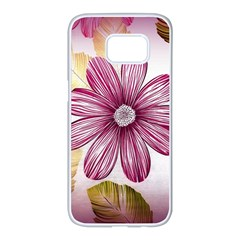 Flower Print Fabric Pattern Texture Samsung Galaxy S7 Edge White Seamless Case
