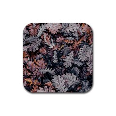 Leaf Leaves Autumn Fall Brown Rubber Coaster (square)  by BangZart