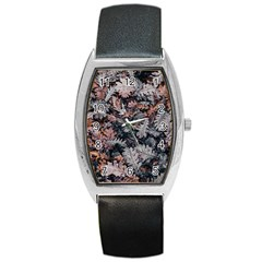 Leaf Leaves Autumn Fall Brown Barrel Style Metal Watch by BangZart