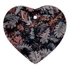 Leaf Leaves Autumn Fall Brown Heart Ornament (two Sides) by BangZart