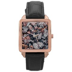 Leaf Leaves Autumn Fall Brown Rose Gold Leather Watch  by BangZart