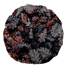 Leaf Leaves Autumn Fall Brown Large 18  Premium Flano Round Cushions by BangZart