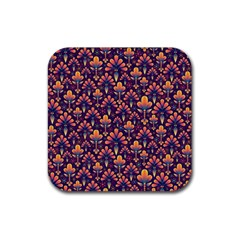 Abstract Background Floral Pattern Rubber Square Coaster (4 Pack)  by BangZart