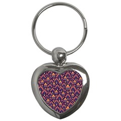 Abstract Background Floral Pattern Key Chains (heart)  by BangZart