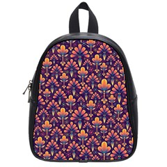 Abstract Background Floral Pattern School Bags (small)  by BangZart