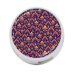 Abstract Background Floral Pattern 4 Port Usb Hub (one Side) by BangZart