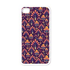 Abstract Background Floral Pattern Apple Iphone 4 Case (white) by BangZart