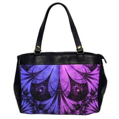 Beautiful Lilac Fractal Feathers Of The Starling Office Handbags (2 Sides)  by beautifulfractals