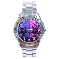 Beautiful Lilac Fractal Feathers Of The Starling Stainless Steel Analogue Watch by beautifulfractals