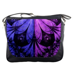 Beautiful Lilac Fractal Feathers Of The Starling Messenger Bags by beautifulfractals