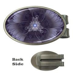 Amazing Fractal Triskelion Purple Passion Flower Money Clips (oval)  by beautifulfractals