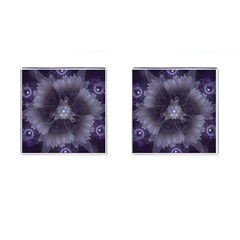 Amazing Fractal Triskelion Purple Passion Flower Cufflinks (square) by beautifulfractals
