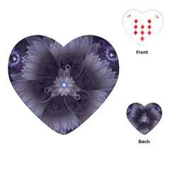 Amazing Fractal Triskelion Purple Passion Flower Playing Cards (heart)  by beautifulfractals