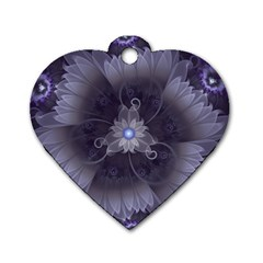 Amazing Fractal Triskelion Purple Passion Flower Dog Tag Heart (two Sides) by jayaprime