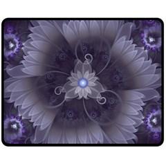 Amazing Fractal Triskelion Purple Passion Flower Fleece Blanket (medium)  by jayaprime