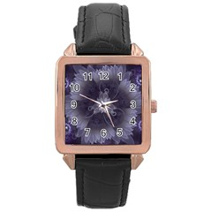 Amazing Fractal Triskelion Purple Passion Flower Rose Gold Leather Watch  by jayaprime